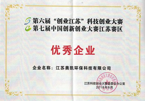 优秀企业证书